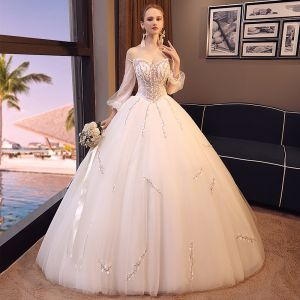 Elegant Ivory Wedding Dresses 2018 Ball Gown Beading Lace Flower Off-The-Shoulder Backless 3/4 Sleeve Floor-Length / Long Wedding