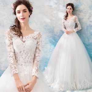 Affordable Ivory Pierced Wedding Dresses 2019 Ball Gown Scoop Neck Long Sleeve Backless Appliques Lace Beading Pearl Floor-Length / Long Ruffle