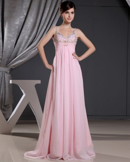 Fashion Chiffon Charmeuse Silk Beaded Pleated Spaghetti Straps Floor Length Sleeveless Women Evening Dress