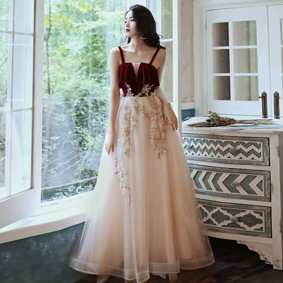Two Tone Red Champagne Evening Dresses  2020 A-Line / Princess Spaghetti Straps Sleeveless Appliques Lace Floor-Length / Long Ruffle Backless Formal Dresses