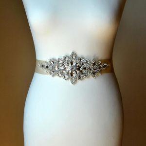 Luxury / Gorgeous Ivory Wedding Sash 2020 Satin Metal Handmade  Beading Crystal Rhinestone Bridal Evening Party Prom Accessories