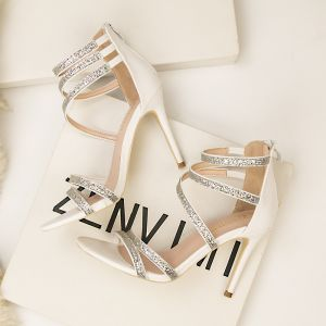 Moda Blanco Noche Sandalias De Mujer 2020 Lentejuelas Correa Del Tobillo 10 cm Stilettos / Tacones De Aguja Peep Toe Sandalias