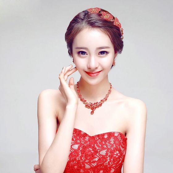 Rote Mode Haarschmuck Braut / Ohrring / Halskette Dreiteilige