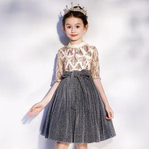 Moda Złote Szary Urodziny Sukienki Dla Dziewczynek 2020 Princessa Wysokiej Szyi 1/2 Rękawy Szarfa Cekinami Poliester Cekiny Kutas Krótkie Wzburzyć