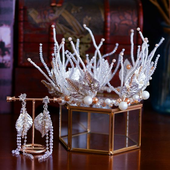 Luxury / Gorgeous White Wedding Bridal Hair Accessories 2019 Metal Tiara Earrings Crystal Rhinestone Leaf Beading Tassel Accessories