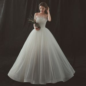 Amazing / Unique Ivory Gradient-Color Grey Wedding Dresses 2018 Ball Gown Strapless Sleeveless Backless Pearl Floor-Length / Long Ruffle