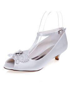 Schöne Weiße Hochzeitsschuhe Peeptoes Pumps Brautschuhe Satin
