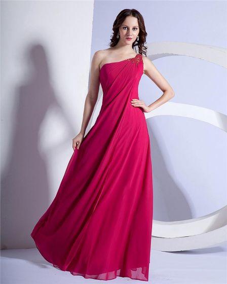 Elegant Mousseline Gaine Une Epaule Robes Du Soirée Perlees