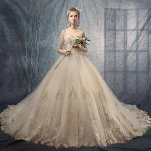 Luxury / Gorgeous Champagne Wedding Dresses 2019 A-Line / Princess Square Neckline 1/2 Sleeves Pierced Appliques Lace Beading Chapel Train Ruffle