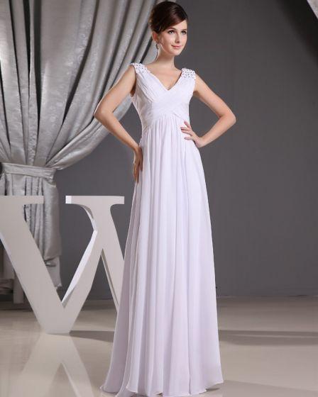 Mousseline De Soie Charmeuse De Soie Plissee Col En V Etage Longueur Sans Manches Femmes Robe De Soirée De Mode