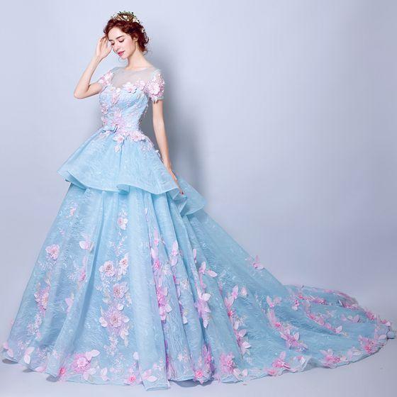 1afdcdd421 Najpiękniejsze   Ekskluzywne Niebieskie Suknie Ślubne 2018 Suknia Balowa  Aplikacje Perła Wycięciem Przezroczyste Kótkie Rękawy Trenem Kaplica Ślub