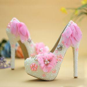 Chic / Belle Blanche Chaussure De Mariée 2019 Appliques Perle Faux Diamant 14 cm Talons Aiguilles À Bout Rond Mariage Escarpins
