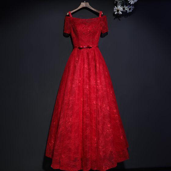 Hermoso Rojo Vestidos Formales Vestidos de noche 2017 De Encaje Flor Bowknot Lentejuelas Escote Cuadrado Manga Corta La altura del tobillo A-Line / Princess