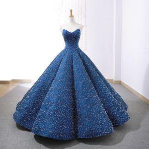 Luxus / Herrlich Königliches Blau Tanzen Ballkleider 2020 Ballkleid Herz-Ausschnitt Ärmellos Perlenstickerei Lange Rüschen Rückenfreies Festliche Kleider