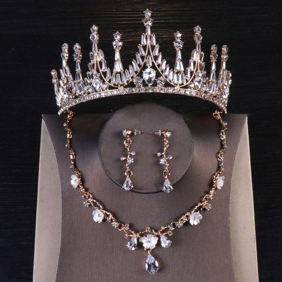 Vintage / Retro Gold Bridal Jewelry 2020 Metal Rhinestone Earrings Tiara Bridal Hair Accessories