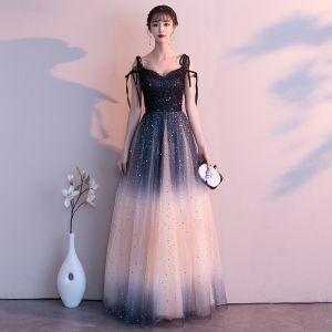 Sparkly Gradient-Color Black Evening Dresses  2019 A-Line / Princess Spaghetti Straps Bow Sequins Tassel Sleeveless Backless Floor-Length / Long Formal Dresses