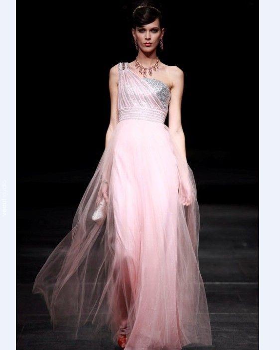 One Shouder Floor Length Women's Evening Dress