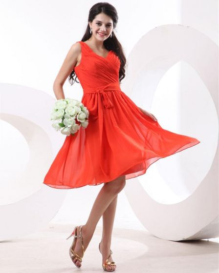 Ruffle Bowtie Sash Knee Length Chiffon Bridesmaids Dresses