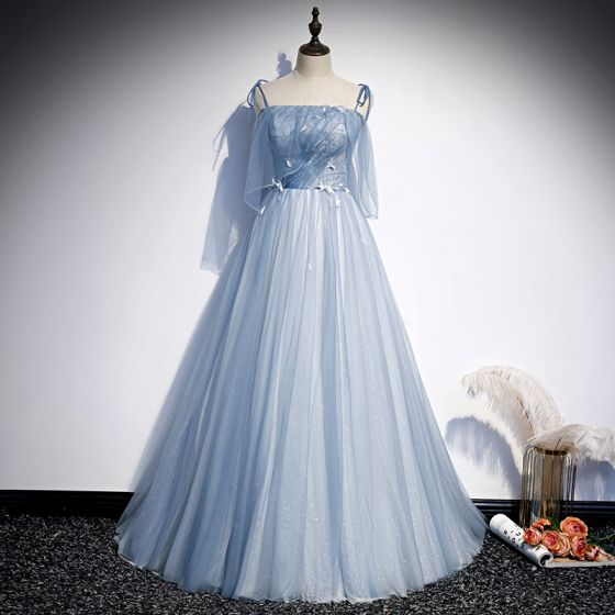 Chic / Beautiful Sky Blue Evening Dresses  2020 A-Line / Princess Spaghetti Straps Sleeveless Appliques Lace Beading Glitter Tulle Floor-Length / Long Ruffle Backless Formal Dresses