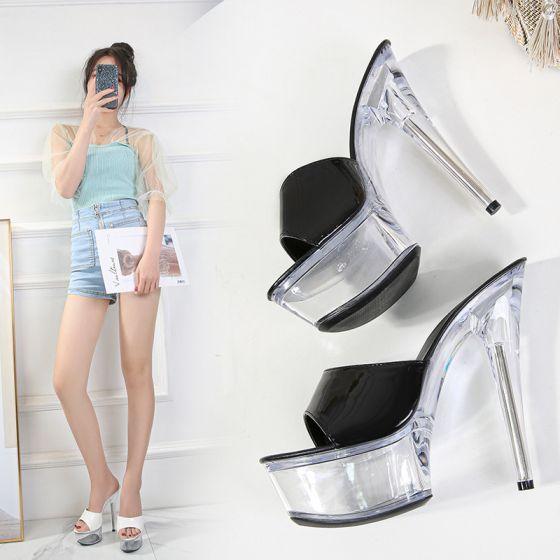 Sexy Svart Karnevals klubb Sandaler Dame 2020 Patent Lær 15 cm Stiletthæler Peep Toe Sandaler