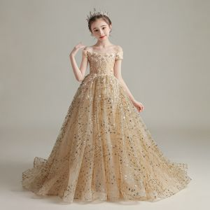 Elegant Gold Birthday Flower Girl Dresses 2020 Ball Gown Off-The-Shoulder Short Sleeve Backless Appliques Lace Beading Pearl Sequins Sweep Train Ruffle