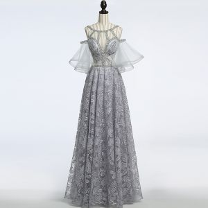 Amazing / Unique Grey See-through Evening Dresses  2018 A-Line / Princess Scoop Neck Strapless 1/2 Sleeves Sequins Beading Floor-Length / Long Ruffle Backless Formal Dresses