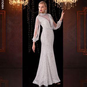 Sparkly White See-through Evening Dresses  2020 Trumpet / Mermaid High Neck Tassel Long Sleeve Bow Sash Rhinestone Floor-Length / Long Formal Dresses