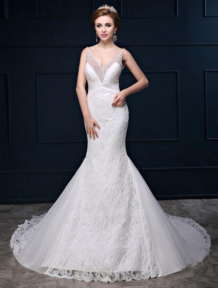 vestido de novia de encaje lentejuelas abalorios sin espalda con