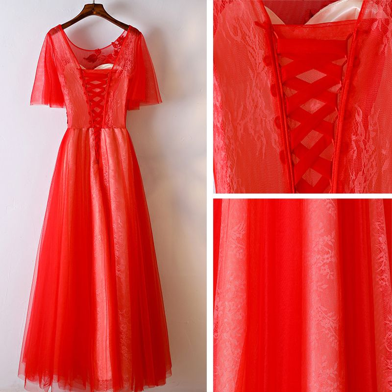 Chic / Beautiful Red Formal Dresses Evening Dresses  2017 Lace Flower Pearl Scoop Neck 1/2 Sleeves Tea-length A-Line / Princess