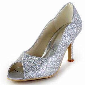 Aangepaste Hoogwaardige Glitter Trouwschoenen Bruidsschoenen Feestschoenen Goud Zilver Peep Optionele