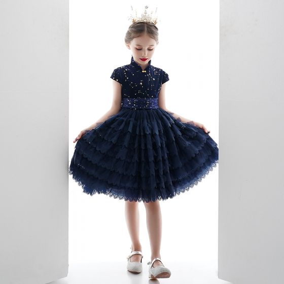 Vintage / Retro Navy Blue Lace Birthday Flower Girl Dresses 2020 Ball Gown High Neck Sleeveless Star Embroidered Short Cascading Ruffles