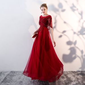 Chic / Beautiful Burgundy Evening Dresses  With Shawl 2019 A-Line / Princess Scoop Neck Appliques Lace Beading Pearl Floor-Length / Long Ruffle Backless Formal Dresses