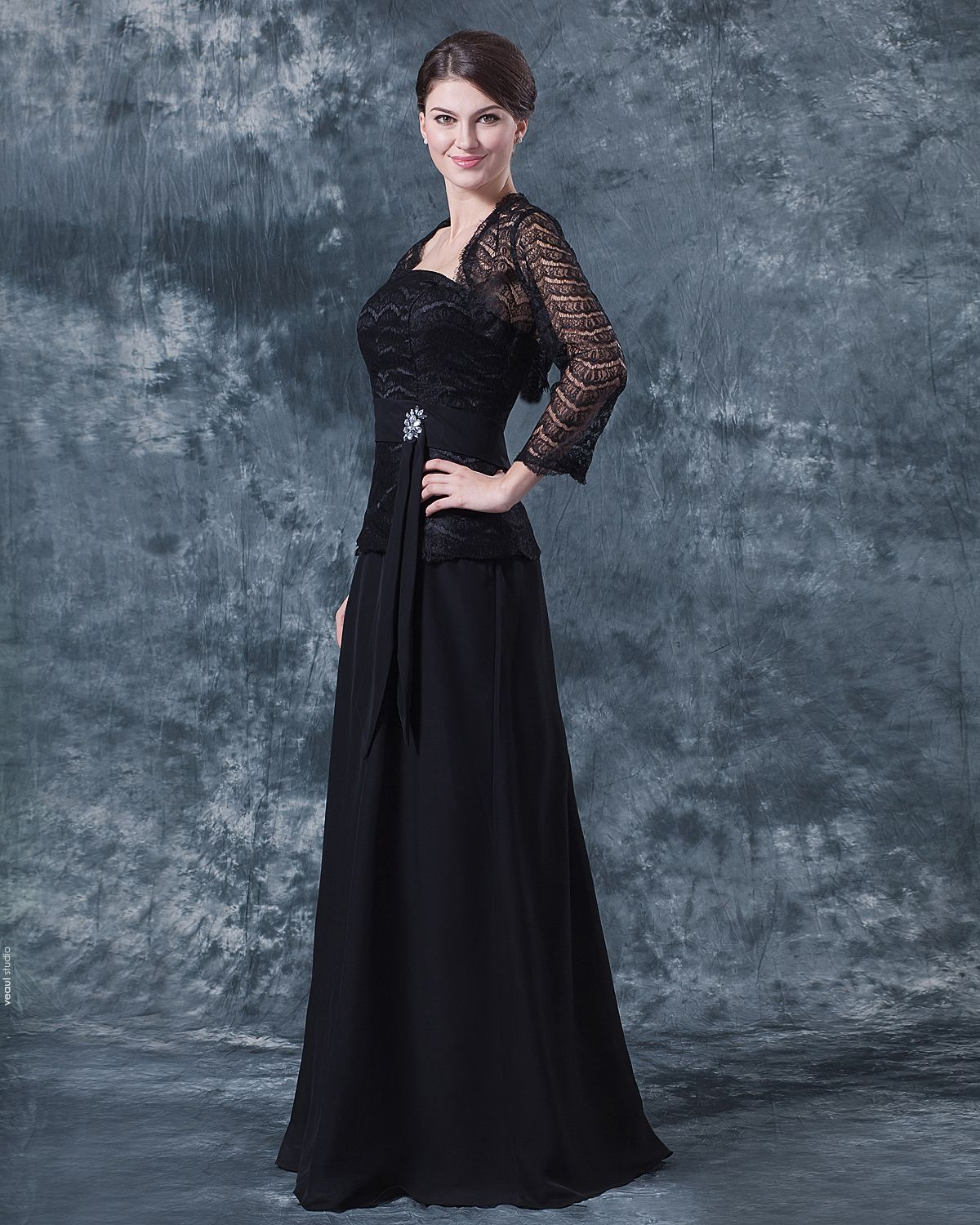 Chiffon Lace Pleated Queen Anne Floor Length Mothers of Bride Guests Dresses