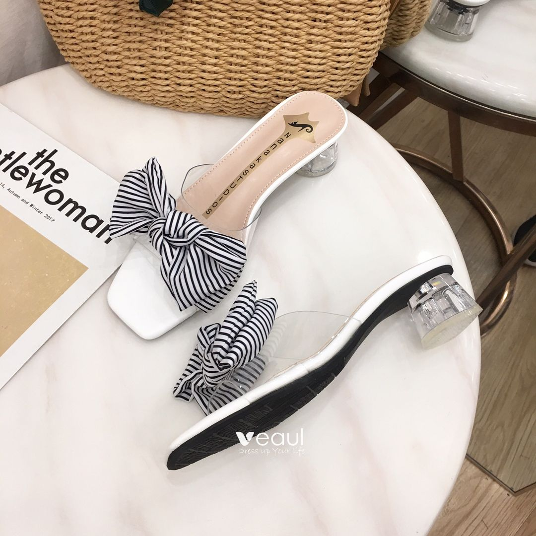 Chic / Beautiful White Casual Womens Sandals 2019 Striped Bow 5 cm Thick Heels Open / Peep Toe Mid Heels Sandals