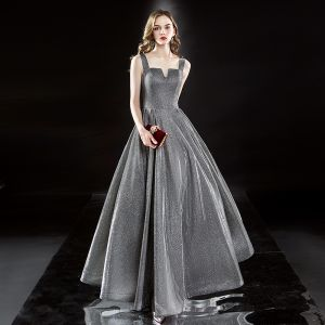 Sparkly Silver Evening Dresses  2019 A-Line / Princess Square Neckline Glitter Polyester Sleeveless Backless Floor-Length / Long Formal Dresses
