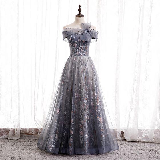 Piękne Granatowe Taniec Sukienki Na Bal 2020 Princessa Przy Ramieniu Kótkie Rękawy Frezowanie Rhinestone Aplikacje Cekinami Tiulowe Długie Wzburzyć Bez Pleców Sukienki Wizytowe