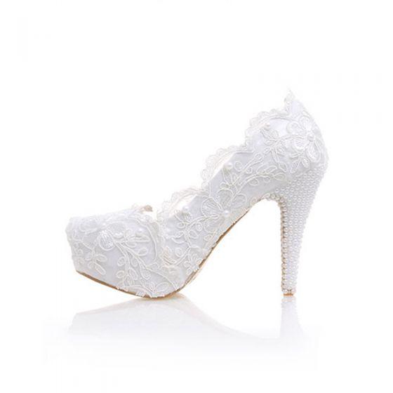 Élégant Ivoire En Dentelle Chaussure De Mariée 2020 Cuir Perle Fleur Imperméables 12 cm Talons Aiguilles À Bout Pointu Mariage Escarpins