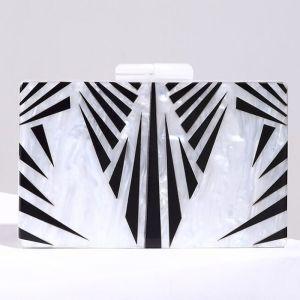 Moderne / Mode Blanche Rayé Cocktail Soirée Pochette 2018