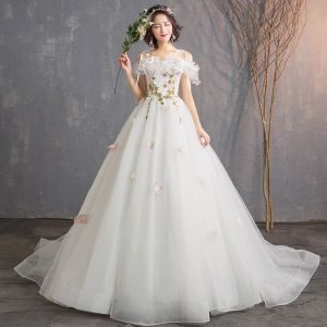 Affordable Ivory Wedding Dresses 2019 A-Line / Princess Off-The-Shoulder Short Sleeve Backless Butterfly Appliques Lace Flower Court Train Ruffle