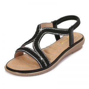 Chic / Beautiful Summer Black Beach Slipper & Flip flops 2020 Rhinestone Womens Shoes