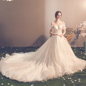 Elegant Champagne See-through Wedding Dresses 2019 A-Line / Princess Scoop Neck Short Sleeve Backless Bow Appliques Lace Chapel Train Ruffle