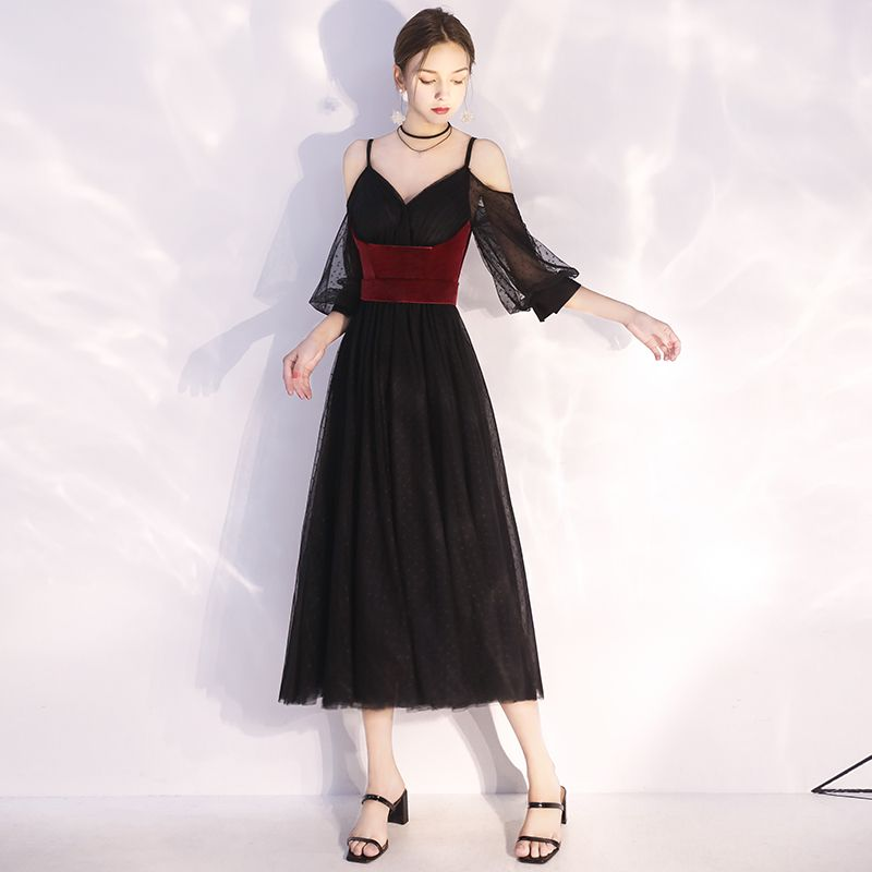 Chic / Beautiful Black Homecoming Evening Dresses  2020 A-Line / Princess Spaghetti Straps Spotted Suede 1/2 Sleeves Backless Tea-length Formal Dresses