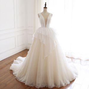 Sexy Champagne Organza Wedding Dresses 2019 A-Line / Princess See-through Deep V-Neck Sleeveless Backless Glitter Tulle Court Train