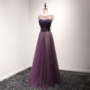Chic / Belle Grape Robe De Soirée 2017 Princesse Encolure Dégagée Sans Manches Appliques Fleur Perlage Perle Longue Volants Dos Nu Percé Robe De Ceremonie
