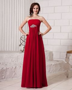 Stylish Ruffle Strapless Floor Length Beading Chiffon Bridesmaid Dress
