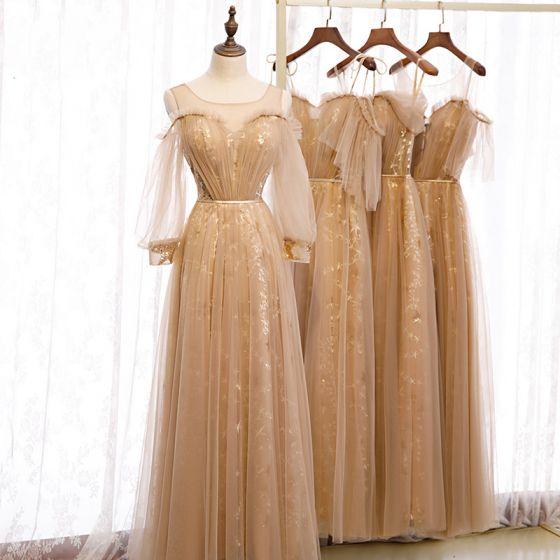 Elegantes Marrón Vestidos De Damas De Honor 2020 A-Line / Princess Sin Espalda Cinturón Estrella Apliques Con Encaje Lentejuelas Largos Ruffle