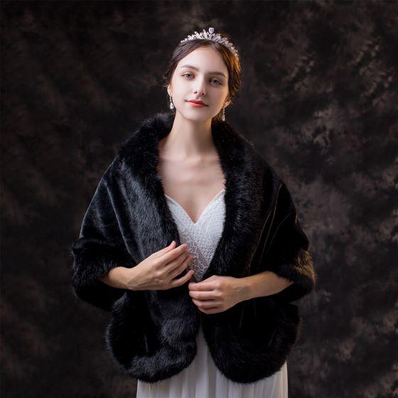Piękne Czarne szal 2020 Zamszowe Poliester Szale Plecy Zima Ślub Wieczorowe Bal Bez Rękawów Akcesoria