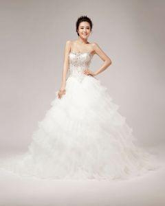 Vacker Beading Kristall Dekoration Alskling Organza Balklänning Bröllopsklänningar Brudklänning