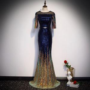 Glitzernden Königliches Blau Farbverlauf Gold Pailletten Abendkleider 2020 Meerjungfrau Durchsichtige Rundhalsausschnitt 1/2 Ärmel Strass Stoffgürtel Lange Festliche Kleider
