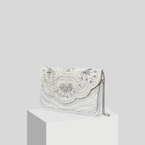 Modern / Fashion White Beading Pearl Rhinestone Clutch Bags 2019